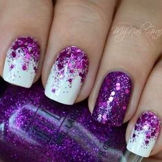 Chosen Purple Nail Art Designs Half Moon Purple Glitter with Matte White Nail Art Design.Half Moon Purple Glitter with Matte White Nail Art Design. Purple Glitter Nails, Purple Nail Art, Purple Nail Designs, White Nail Art, Glitter Nail Art, Nail Art Designs, Purple Sparkle, Silver Nail, Black Nail