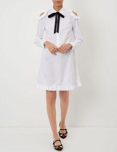 White Cold Shoulder Ribbon Dress