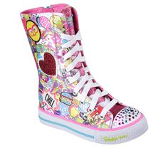 Skechers Girls' Twinkle Toes Shuffles Chillin Dayz High Top, Girl's, Size: 2 M, Multi Top Shoes, Cute Shoes, Swag Outfits, Kids Outfits, Cheap Kids Clothes Online, Kids Clothing, Frozen Headband, Girls Skechers, Light Up Sneakers