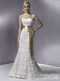 Over Lace Strapless Wedding Dresses A Line Light Brown Belt. Love! Only w a blue ribbon.