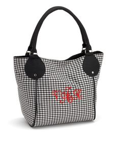 Red & Black Monogrammed Houndstooth Canvas Purse...perfect for game day!