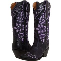 Black boots with purple cut-out details.