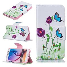 Samsung Galaxy S6 Case [With Tempered Glass Screen Protector],Fatcatparadise(TM) Anti Scratch Flip Soft Silicone Back Cover Case ,Stylish Printed Cute Colorful Pattern Magnetic Detachable Premium PU Leather Folio Book stytle Credit Card Holder [with Lanyard Strap/Rope] Wallet Embedded Case Cover For