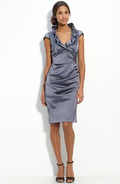 Bridal shower or rehearsal dinner dress?!?    Xscape Ruffle Collar Stretch Satin Sheath Dress available at Nordstrom