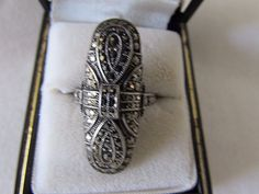 ART DECO STERLING SILVER MARCASITE RING by UNCAS CIRCA 1922 #Unbranded