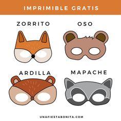 Printable animal masks - Elsa Santander - Animal masks for . Squirrel Costume, Printable Animal Masks, Fairy Baby Showers, Bear Cookies, One Banana, Safari, Easy Craft Projects, Fiesta Party, Woodland Party