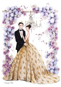 I have been so excited to share this one! An ultra glamorous private commission bridal illustration for a stunning couple Wedding Clip, Wedding Art, Indian Wedding Couple, Wedding Couples, Wedding Dress Sketches, Wedding Dresses, Cute Love Cartoons, Wedding Illustration, Fashion Design Sketches