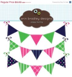 50% OFF SALE Preppy Bunting Clipart .................................... by Erin Bradley Designs (via Etsy)