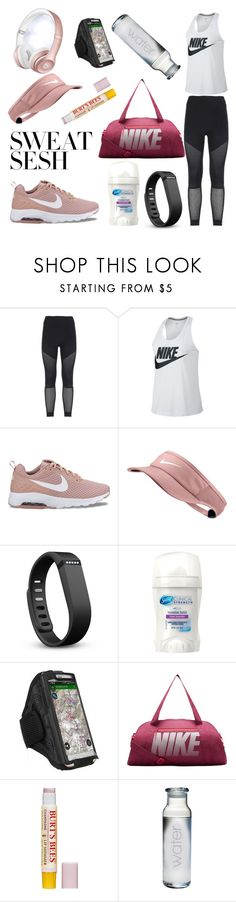 """""""Sweat Sesh #getfit #gettoned #getsweaty #run #squat #lift #Nike #beatsbyDre #burtsbees #water"""" by jessicalisk0217 ❤ liked on Polyvore featuring adidas, NIKE, Fitbit, Beats by Dr. Dre, Burt's Bees and Susquehanna Glass"""