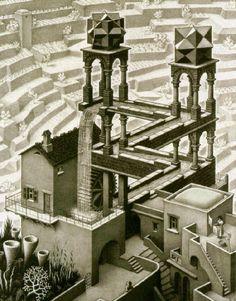 Escher (Waterfall) Art Poster Print - Art Poster Print Art Poster Print by M. Escher, Art Poster Print by M. Illusion Kunst, Illusion Drawings, Illusion Art, Escher Kunst, Inspiration Artistique, Poster Print, Poster Wall, India Ink, Paintings