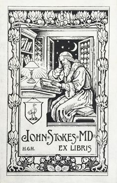 """The bookplate of John Stokes, MD, occurs in a copy of J.B. Craven's biography of """"Dr Robert Fludd. The English Rosicrucian"""", published in Kirkwall by William Peace & Son in 1902. The bookplate breathes a late medieval atmosphere – the seated bearded scholar in a skull cap and fur-lined robe poring over a book lying on a lectern - yet the pensive scholar is illuminated by an electric lamp, a humoristic anachronistic detail.  www.ritmanlibrary.com"""