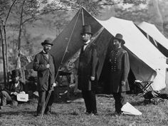 Antietam, Md. - Allan Pinkerton, President Lincoln, and Maj. Gen. John A. McClernand.    Caption information taken from the Library of Congress