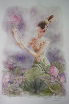 Thai Beauty 1 by a-thammasak on DeviantArt Traditional Paintings, Traditional Art, Art Magique, Art Asiatique, Thai Art, Goddess Art, Mystique, Chinese Art, Indian Art
