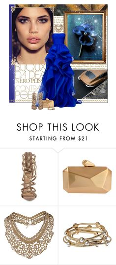 """""""royals"""" by lifestyle-ala-grace ❤ liked on Polyvore featuring Reem, Schutz, Armitage Avenue, Topshop, Majique, gold, Blue, Clutch, gown and glam"""