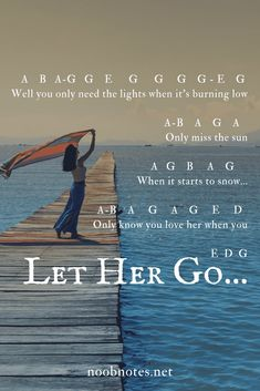 Let Her Go - Passenger - music notes for newbies A simple transposition for 'Let her go' by Passenger – great piece for absolute beginners across instruments, no sharps or flats, enjoy A Piano Sheet Music Letters, Flute Sheet Music, Easy Piano Sheet Music, Piano Music Notes, Music Sheets, Passenger Music, Piano Songs For Beginners, Kalimba, The Piano