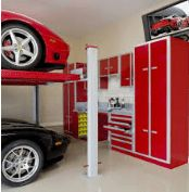The Garage Cabinet Design for You Garage Storage : Red Garage Cabinet Ideas With Stacking Parking And Television