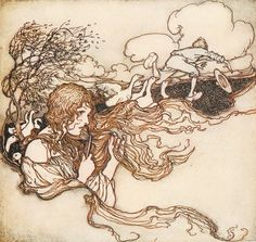 From the tale The Goosegirl. 'Blow, blow, little breeze, and Conrad's hat seize'. Illustration by Arthur Rackham from the book 'Snowdrop and Other Tales' http://www.amazon.com/gp/product/1447477375/ref=as_li_tl?ie=UTF8&camp=1789&creative=9325&creativeASIN=1447477375&linkCode=as2&tag=reaboo09-20&linkId=3M2TE5OS2H4REJZ2