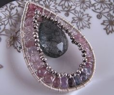 Spinel Tourmalinated Quartz purple pink black necklace $65