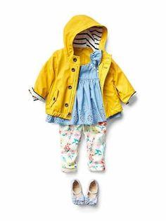 Baby Girl Gap Clothing // Yellow Rain Coat + Blue Denim Ruffle Sleeved Top