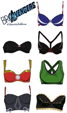 Have you ever wondered just how far the Avengers take their costumes? Maybe Captain America sports a pair of red, white and blue undies and Iron Man has custom boxers with 24K gold trim. It's possible. And if the Avengers were all ladies, then they'd definitely be sporting these fabulous Avengers bras. I want someone to make these. Bravengers Assemble!