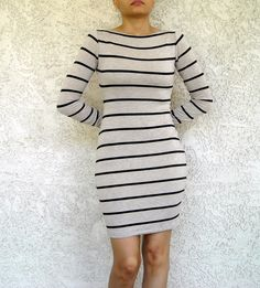 ON SALE Fitted Dress Long Sleeve with Boat Neck made from Stretchy Knit Jersey petite tall plus size xs small med large xl Petite Long Sleeve Dress, Casual Outfits, Cute Outfits, Sweet Dress, Striped Dress, Cute Dresses, Plus Size Fashion, What To Wear, Fashion Dresses