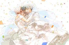 akuma no riddle azuma tokaku ichinose haru muraichi short hair shoujo ai wedding attire