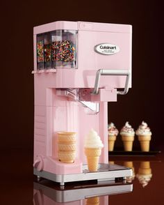 For The Little One: Soft Serve Ice Cream Maker by Cuisinart at Neiman Marcus. I love this ice cream machine!Cutest soft serve ice cream maker by Cuisinart! Has places for easy-dispense sprinkles and a spot to hold your ice cream cones! How delicious! Small Kitchen Appliances, Cool Kitchens, Cream Kitchens, Fun Kitchen Gadgets, Kitchen Gifts, Diner Kitchen, House Appliances, Retro Appliances, Fun Gadgets