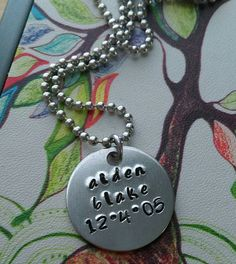 ON SALE Handstamped Name & Date Necklace by sassyfrassx3 on Etsy