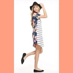 Coming Soon Stripe/Floral Print Contrast Dress Stunning contrast cold shoulder dress!                                                              Fabric 95%RAYON 5%SPANDEX  Coming Soon! Dresses