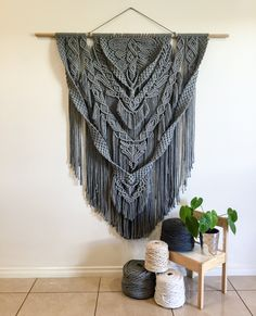 ✨Weeks in the process and finally ready to share this beauty with you ✨ Handmade of 5mm recycled light grey cotton this Macrame Wall Hanging is definitely an eye catcher!