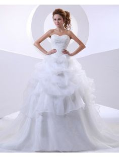 Wedding Dresses Wedding Dresses,Stkittsipa Ball Gown Sweetheart Sleeveless Organza White Wedding Dress With Appliques #Wedding#Dresses
