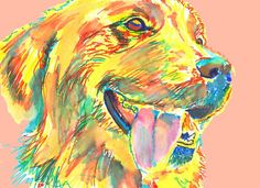 Golden Retriever Painting, art print, yellow golden retriever,Yellow Peach Retriever, wall decor,gift idea golden retriever, wall art print  - in vendita su www.etsy.com