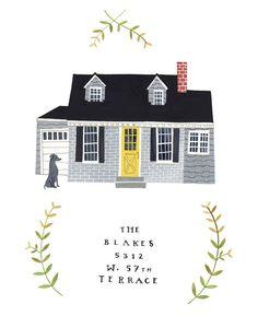 Rebekka Seale house portraits. www.etsy.com/