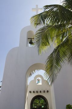 Playa del Carmen, Mexico tiny stunning church in the center of town with the beach in the background. Absolutely stunning