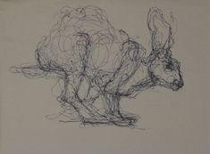 "Rabbit, Ink on Paper, 9"" x 12"", 2010"