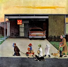 """""""Trick-Or-Treating in the Burbs"""", Saturday Evening Post, 1958. Cover by John Falter"""