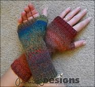 The sky's the limit with these Customizable Fingerless Gloves. They're comfortable, easy, quick to knit up, and just about any stitch pattern can be added to the back. Worked in the round with an even number of stitches, all you would need to do is calculate the number of stitches you need for a stitch pattern, and how big you want the design for the back to be. Go crazy with it!