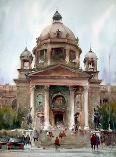 Amazing watercolor works by Dusan Djukaric Shared by Veri Apriyatno Artist . Watercolor Architecture, Watercolor Landscape, Art And Architecture, Landscape Paintings, Landscapes, Guache, Wow Art, Watercolor Artwork, Watercolor Artists