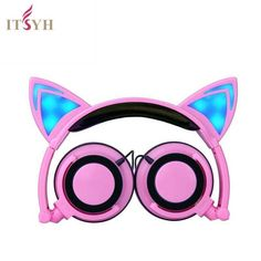Buy US $12.01  Fashion Earphones & Headphones girl students LED light  headband earpones with microphone foldable Cute Cat Ear headset TW-763  Search here: Laptop