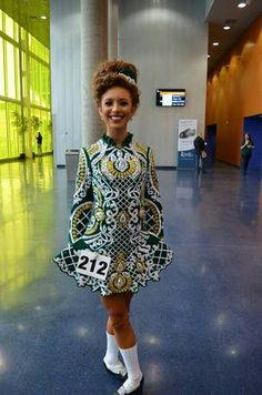 Irish dance dress fashions are entering the world of haute couture. Irish Step Dancing, Irish Dance, Dance Outfits, Dance Dresses, Green And Gold Dress, Celtic Dress, Dance Like No One Is Watching, Embellished Dress, Dance Costumes