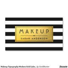 Makeup Typography Modern Gold Label Black Stripes Business Card