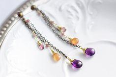 Long dangle chain earrings with brass chain amethyst by SabiKrabi, $34.00