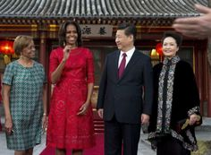First Lady Michelle Obama meets with China's President Xi Jinping on her trip to China