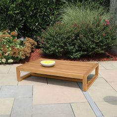The modern Casita coffee table has a low, generously sized tabletop that easily transforms into an ottoman with the addition of a cushion. Outdoor Coffee Tables, Outdoor Lounge, Outdoor Decor, Teak Outdoor Furniture, Furniture Ideas, Teak Table, Tabletop, Ottoman, Cushions