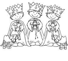 dibujos de los reyes magos para iluminar | Dibujos Cristianos Para Colorear: Dibujos Infantil de Los Reyes Magos ...