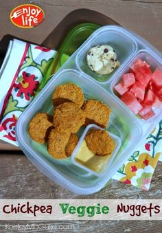 Chickpea Veggie Oven Baked Nuggets | packed in EasyLunchboxes containers - Meatless, Gluten Free, and Top 8 Allergen Free. Made with only three ingredient items!