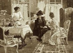 """A Gilded Age - Ladies Social Call. """"Afternoon Tea"""", c.1890. ~~ {cwl}"""