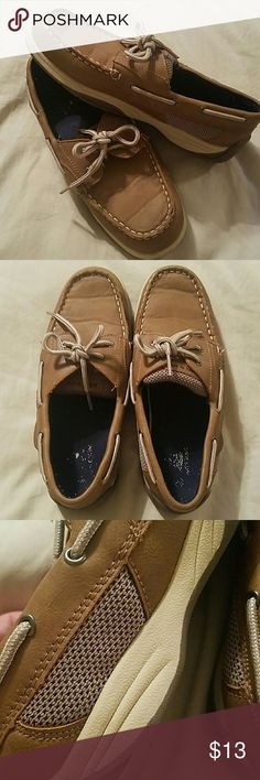 Size 5 Boys Sperry-Style Loafers These tan and brown, boys Sperry-Style loafers are in great, gently used condition. Soles are like new, minor creasing across the top...tobs of life left, especially if your kiddo grows as quickly as mine!  😄 Shoes