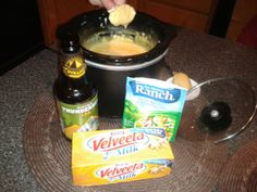 Meltdown Dip!  {easy cheesy dip with Velveeta, sour cream, Ranch dip mix, and a little beer}  Delicious with bread or veggies!