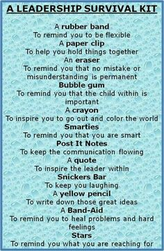leadership survival kit - Bing Images - would be a neat thing to give students on the first day of my leadership seminar! --something to hand out on the first day of stuco Coaching Personal, Wordpress Blog, Employee Recognition, Recognition Ideas, Leader In Me, Life Quotes Love, Wisdom Quotes, Quotes Quotes, Quotes Women
